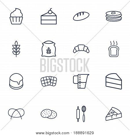 Set Of 16 Cooking Outline Icons Set.Collection Of Pudding, Cupcake, Measuring Cup And Other Elements.