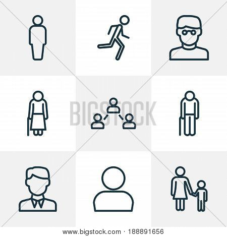 People Outline Icons Set. Collection Of Running, Profile, Graybeard And Other Elements. Also Includes Symbols Such As Relations, Client, Personal.