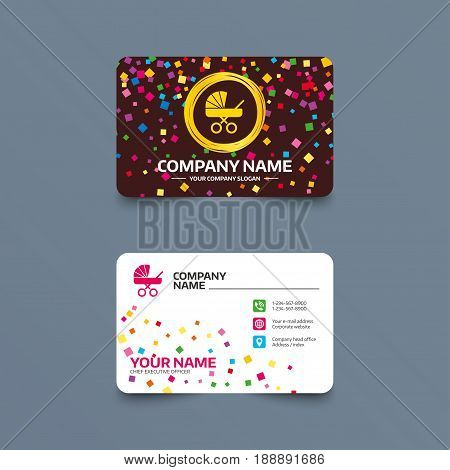 Business card template with confetti pieces. Baby pram stroller sign icon. Baby buggy. Baby carriage symbol. Phone, web and location icons. Visiting card  Vector