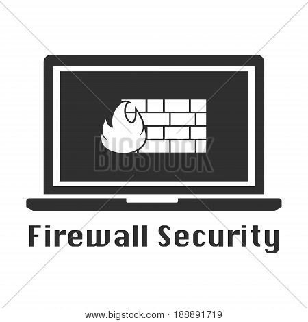 Firewall black icon. Vector illustration cyber crime online security concept.
