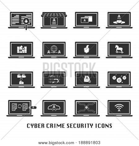Cyber crime security black icons set for website. Vector illustration cybercrime security concept.