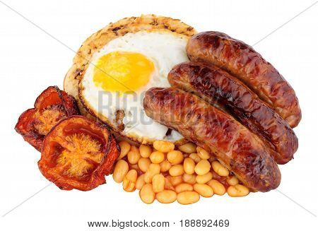Grilled pork sausages on a buttered crumpet isolated on a white background