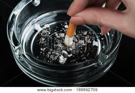 cigarette close up isolated on black background. Drug addiction. Tobacco smoking. cancer. Nicotine. Bad habit.