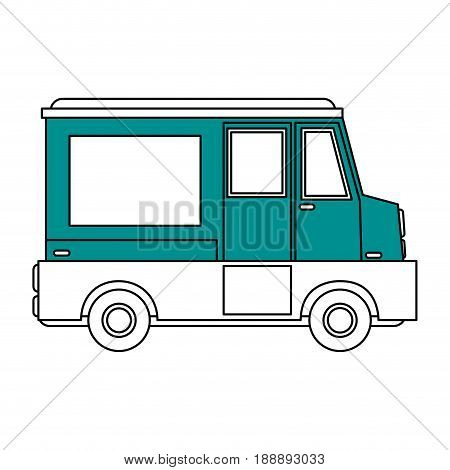 Flat line food truck over white background. Vector illustration.