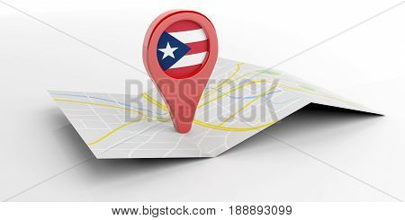 Puerto Rico Map Pointer On White Background. 3D Illustration
