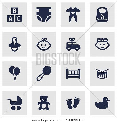 Set Of 16 Baby Icons Set.Collection Of Bear, Duck, Nappy And Other Elements.