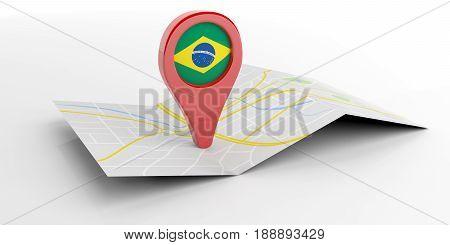 Brazil Map Pointer On White Background. 3D Illustration