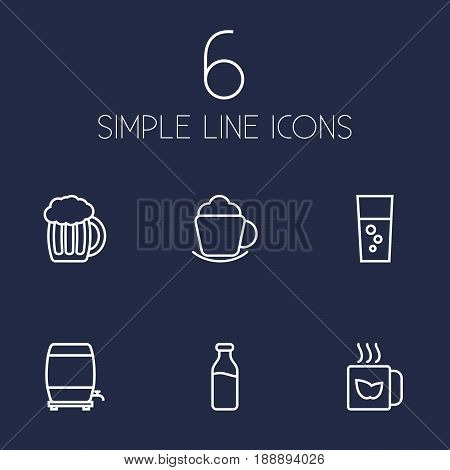 Set Of 6 Beverages Outline Icons Set.Collection Of Beer, Fizzy Water, Wine Cask And Other Elements.