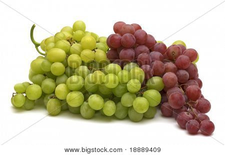 green and red grapes on white background