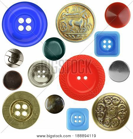 Vintage Sewing Buttons, Isolated