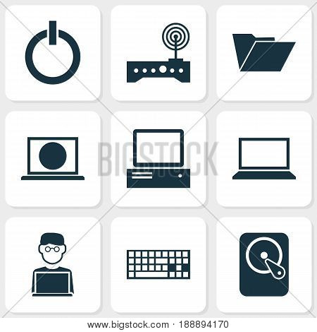 Digital Icons Set. Collection Of Router, Power On, Hdd And Other Elements. Also Includes Symbols Such As Start, Button, Web.