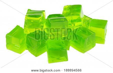 Group of lime fruit flavoured jelly cubes isolated on a white background