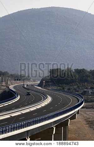 Viaduct Garista in the hinterland of Trogir, oh the highway A1 in Croatia