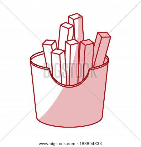 Flat line monocromatic french fries over white background. Vector illustration.