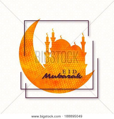 Eid Mubarak holiday background. Watercolor texture with dotted effect, traditional pattern. Vector illustration.