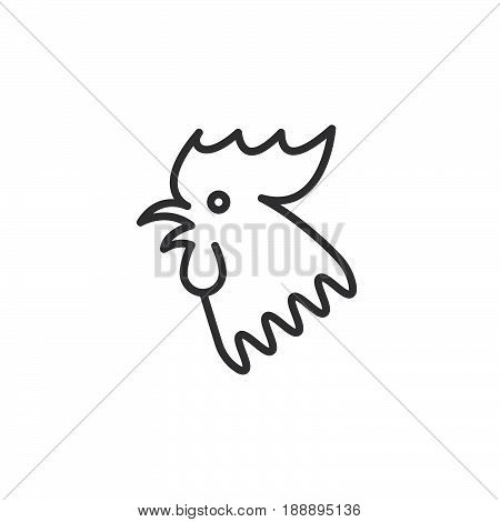 Rooster 2017 Chinese Zodiac Line Icon, Outline Vector Sign, Linear Pictogram Isolated On White. Logo