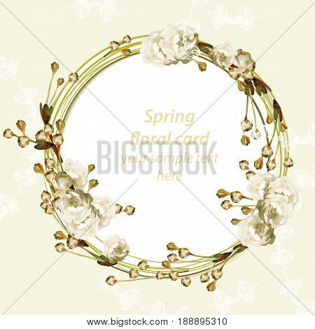 Vintage Cherry blossom round card frame. Spring delicate flowers Wedding Invitation. Place for text. Vector