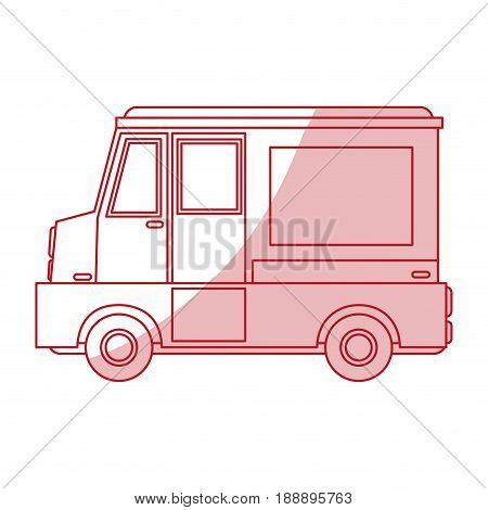 Flat line monocromatic food truck over white background. Vector illustration.