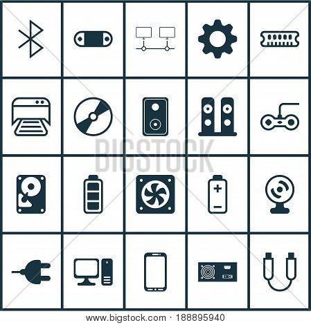Hardware Icons Set. Collection Of Battery, Desktop Computer, Web Camera And Other Elements. Also Includes Symbols Such As PC, Symbol, Battery.