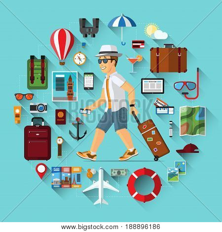 Smiling cartoon tourist man with hand luggage suitcase and the set of icons of tourism, air travel, summer vacation planning, adventure, journey in holidays. Flat style vector illustration