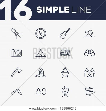 Set Of 16 Adventure Outline Icons Set.Collection Of Shelter, Rubber Boat, Guitar And Other Elements.