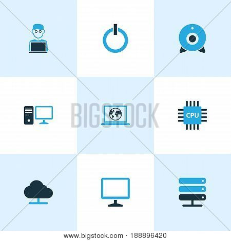 Hardware Colorful Icons Set. Collection Of Storage, Power, Microprocessor And Other Elements. Also Includes Symbols Such As Personal, Microprocessor, Internet.