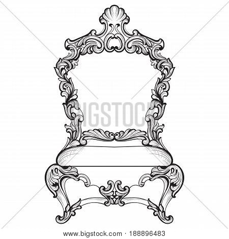 Rich Imperial Baroque armchair in luxurious ornaments. Vector French Luxury rich intricate structure. Victorian Royal Style decor