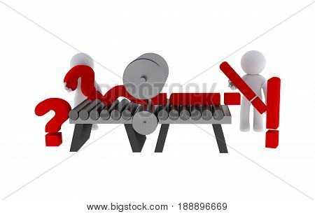 Small character with question marks and exclamation mark 3d rendering