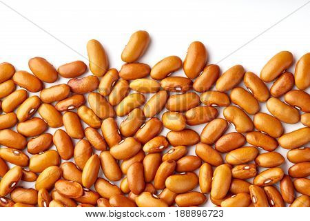 Yellow Kidney Bean Isolated On White Background. Yellow Kidney Bean Texture Background. A Large Bean