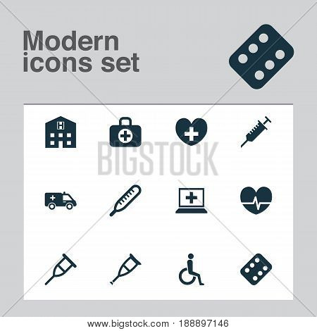 Antibiotic Icons Set. Collection Of Rhythm, Handicapped, Heal Elements. Also Includes Symbols Such As Pharmaceutical, Heal, Nurse.