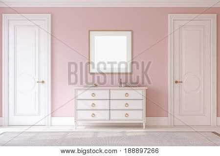 Modern hallway. White dresser near pink wall. Frame mockup. 3d render.
