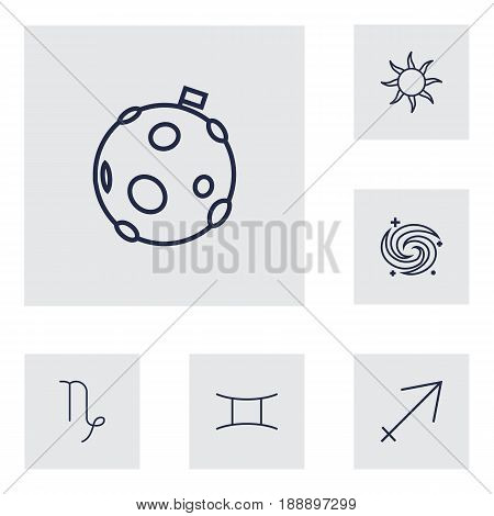 Set Of 6 Horoscope Outline Icons Set.Collection Of Sun, Sagittarius, Galaxy And Other Elements.