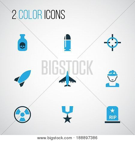 Army Colorful Icons Set. Collection Of Soldier, Bio Hazard, Fighter And Other Elements. Also Includes Symbols Such As Medal, Destroyer, Die.