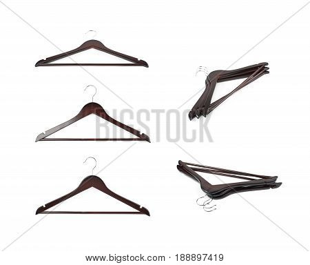 Set of dark hanger images isolated over the white background