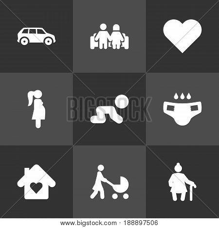 Set Of 9 Family Icons Set.Collection Of Expectant Mother, House, Perambulator And Other Elements.