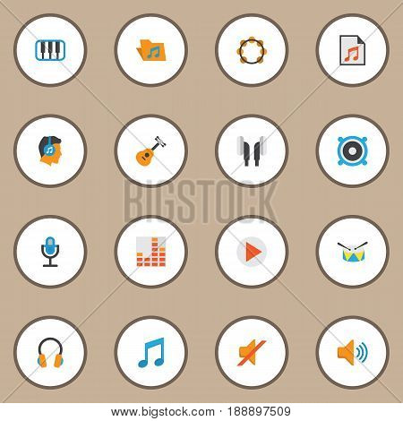 Music Flat Icons Set. Collection Of Pianoforte, Karaoke, Media And Other Elements. Also Includes Symbols Such As Headphone, Button, Voice.