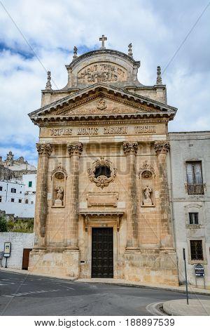 Catholic church in the white city Ostuni Puglia Italy
