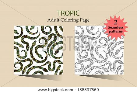 Seamless vector pattern with snakes in tribal style. Coloring page for adults.
