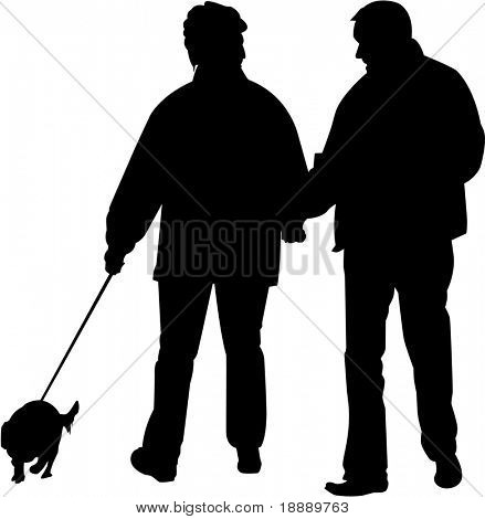 vector image of people and dog poster