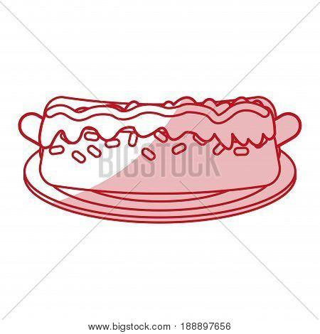 Hot dog on plate flat line design over white background. Vector illustration.