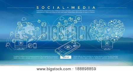 Flat linear illustration of social media, social networking, mobile app, sharing, communication, and social commerce.