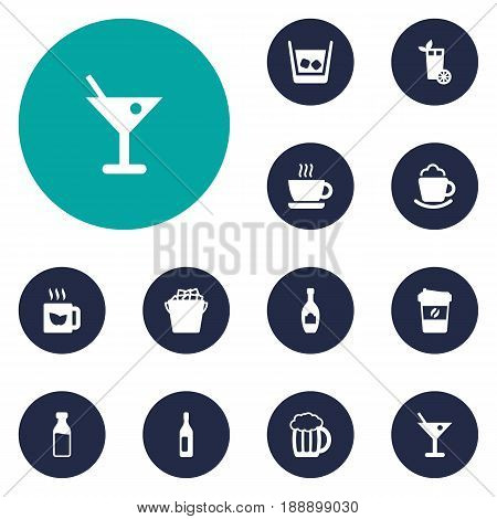 Set Of 12 Beverages Icons Set.Collection Of Hot, Drink, Fridge And Other Elements.