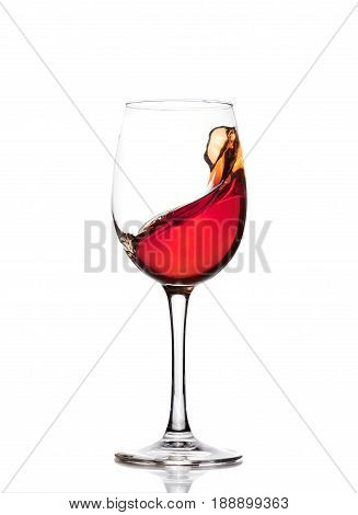 Classic Glass Of Red Wine Isolated On A White Background. Splashing Red Wine In A Glass. A Splash Of