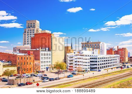 Durham, North Carolina, USA downtown cityscape.