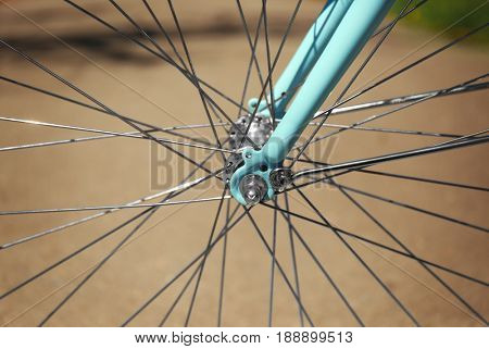 Closeup view of bicycle wheel spokes