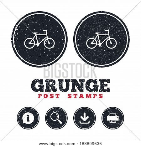 Grunge post stamps. Bicycle sign icon. Eco delivery. Family vehicle symbol. Information, download and printer signs. Aged texture web buttons. Vector