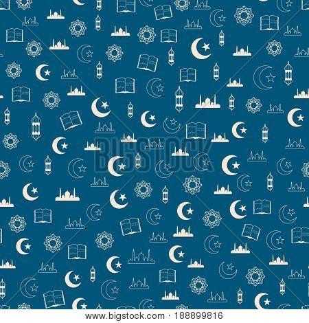 Vector illustration of islamic holy holiday Ramadan seamless pattern with mosque, moon, lantern, koran