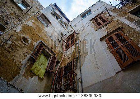 Upward View In Alley In Polignano A Mare, Puglia, Italy