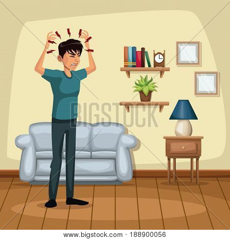 background living room home with headache sickness people vector illustration