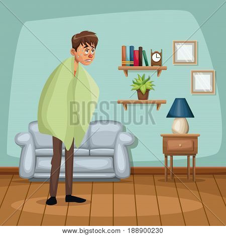 background living room home with fever sickness people vector illustration